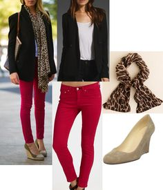 Red jeans + Animal print scarf