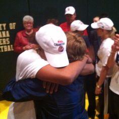 2012 WNBA Finals MVP Tamika Catchings hugs her college coach, Pat Summitt, after winning the WNBA Championship.