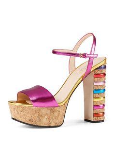 X2XC5 Gucci Claudie Metallic Cork Platform Sandal, Fuchsia/Gold