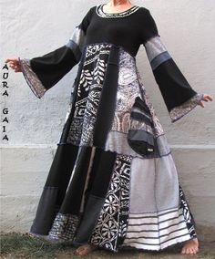 AuraGaia's SHADOWS~ Poorgirl Boho Tattered Upcycled Long Dress S-XL
