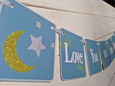 Baby shower banner Love You to the Moon and Back by RedBirdBanners, $22.00