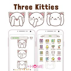 """Three Kitties""   See no evil, hear no evil, speak no evil! That's what these cats are saying!  Download Now:http://bit.ly/2oSY6Ga  #cat #cute #wallpaper #icon #plushome #homescreen #widget #deco"