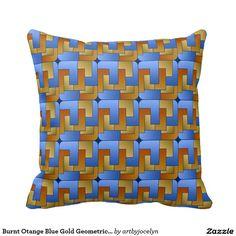 Burnt Orange Blue Gold Geometric Square Tile Throw Pillow