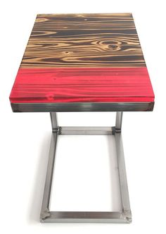 Wood and Steel C Table Modern Rustic Side Table by donjdesign
