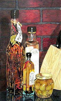 Bouteilles d'huile d'olive par Susan Moyer