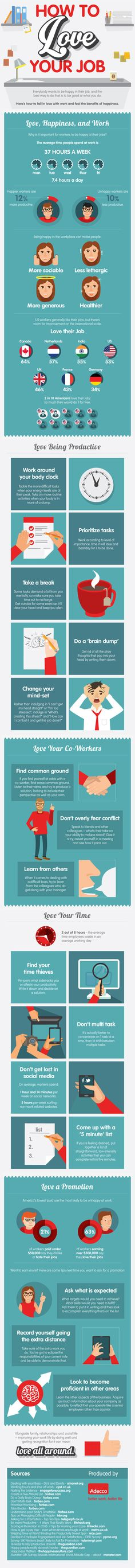 How to Love Your Job (infographic) by deliveringhappiness #Infographic #Happiness