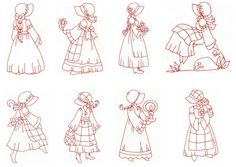 """Spring Sunbonnets"" it's still cold in many  parts of the country and world, but you can bring the cheer of Spring into your home now, with these 8, quick to stitch, redwork Spring Sunbonnets!"
