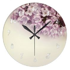 Pretty lilac beautiful wall clock - home gifts ideas decor special unique custom individual customized individualized