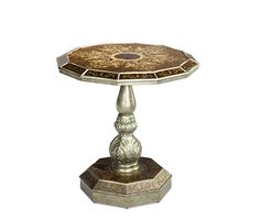 Traditional Style Wood Marble Round Eglomise Top Accent End Table