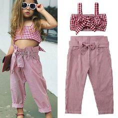 New Kids Baby Girls Plaid Tank Crop Top Vest+Striped Suit Pants Outfits - Children's fashion Little Boy Fashion, Toddler Fashion, Fashion Kids, Style Fashion, Kids Fashion Summer, Fashion Trends, 90s Fashion, Fashion Clothes, Fashion Outfits
