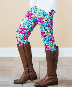 Loving this Blue & Pink Floral Leggings - Girls on #zulily! #zulilyfinds