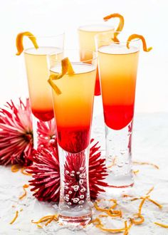 Grenadine Sunrise is a gorgeous and festive cocktail perfect for any occasion! Easy to make, sweet and delicious, made with Prosecco, Grand Marnier, brandy and Grenadine. Drinks With Grenadine, Prosecco Drinks, Vodka Drinks, Alcoholic Drinks, Cold Drinks, Yummy Drinks, Festive Cocktails, Refreshing Cocktails, Grand Marnier