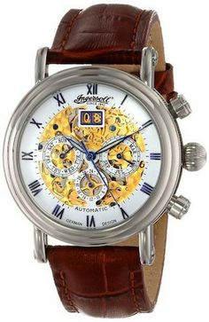 Ingersoll IN2700WH Ghandi Mens Watch Automatic Skeleton Dial Brown Leather Strap
