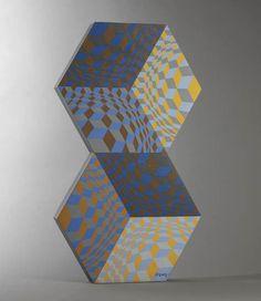 Sculpture Bois Vasarely acrylique Signé, Kettes, 1984