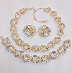 Jomaz Gold And Silver Tone Pave Rhinestone Necklace Bracelet Earring Set Mazer #Jomaz