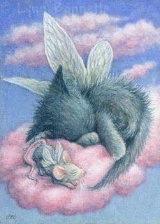 Art by Lynn Bonnette...Darling Fairy Cat and Fairy Mouse on a Cloud! Fairy Myth Mythical Mystical Legend Elf Fairy Fae Wings Fantasy Elves Faries