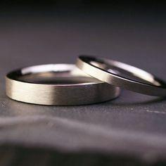 Set of sterling silver flat wedding bands brushed by hartleystudio