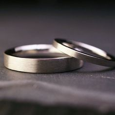 Set of sterling silver flat wedding bands brushed by hartleystudio, $235.00
