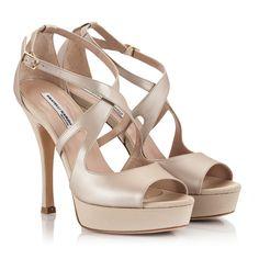 d460ecdaf29 Fratelli Karida Beige leather crossover peep-toe high heel platform sandals  Bridal Shoes