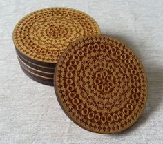 Geometric Pattern Laser Cut/Engraved Wood Coaster - Custom Set Quantity