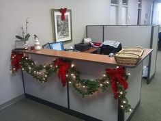 String Of Lights With Garlands For Office Reception Decoration