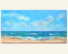 Beach painting of shoreline beach foam sand and waves