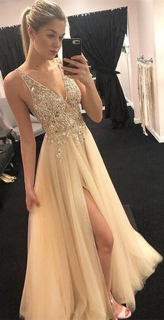 A-Line V-neck Floor-Length Beading Top Prom Dresses With Split, PD0697 #2019prom #prom #popular #promdresses #longpromdresses  #cheappromdresses #promdresseslong #fashion #popular