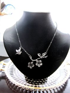 Cherry Blossom Branch Necklace by seirene on Etsy, $17.00
