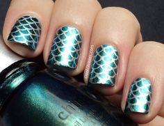 China Glaze Deviantly Daring stamped with China Glaze Millenium and MASH plate 39, finished with Catrice Frosting top coat.