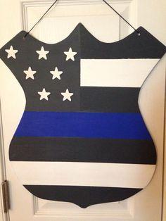 Thin Blue Line American flag badge door hanger