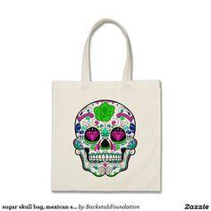 sugar skull bag, mexican sugar skull tote