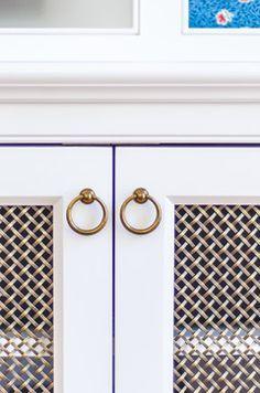 Image result for metal grate in cabinet door with sheer behind