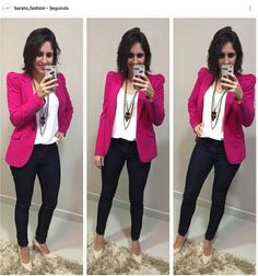 Fuchsia sweater (for me), White blouse, Black leggings, Beige shoes, long necklace - Work Outfit Casual Work Outfits, Business Casual Outfits, Work Casual, Stylish Outfits, Fashion Outfits, Fashion Wear, Rosa Blazer Outfits, Trajes Business Casual, Look Blazer