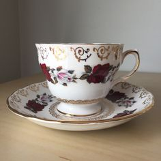 Colclough Vintage Teacup and Saucer, White and Red Rose Gold Filigree Tea Cup and Saucer, English China by CupandOwl on Etsy
