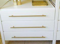 """17-5/8"""" European Brass Drawer Pull - T-Bar in Satin Brass - Ikea Ivar Cabinet Hack - Ikea Office Hack www.ForgeHardwareStudio.com"""
