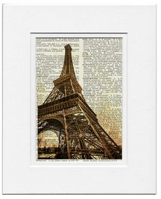 1889 La Tour Eiffel II- Eiffel Tower printed on old page from dictionary