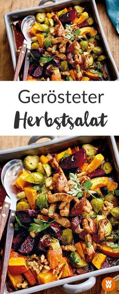 Gerösteter Herbstsalat mit Schnitzelstreifen How about a warm autumn salad? This recipe from Weight Watchers is delicious, healthy and full! I Weight Watchers Recipe I Weight Watchers Germany I WW Recipe I Salad Ww Recipes, Clean Recipes, Dinner Recipes, Cooking Recipes, Healthy Recipes, Plats Weight Watchers, Weight Watchers Meals, Clean Eating, Healthy Eating