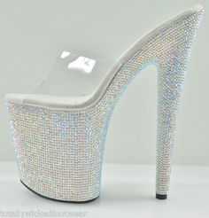 "Bejeweled 6"" 7 "" 8"" Heel Multi Color Rhinestone Platform Clear Upper Slide Shoe 