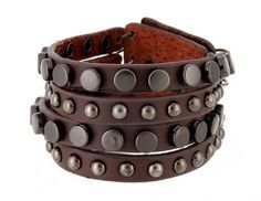 Thick Studs Brown Leather Bracelet