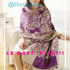 2XHP!! Beautiful Oversized Pashmina Shawl Scarf Best in Retail Host Pick!! Gorgeous scarf...oversized can be worn as shawl or scarf. Nice quality. 55% Pashmina 45% Silk Accessories Scarves & Wraps