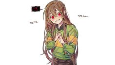 Chara with long hair! Undertale Love, Anime Undertale, Undertale Drawings, Frisk, Dancing Baby, Toby Fox, Pokemon, Fan Art, Fandom
