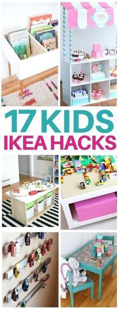 This list of kids ikea hacks is EXACTLY what I needed to redo my kids bedroom! Adorable diy furniture ideas like craft tables, kids toy organization, bookshelves, lego tables, and even play kitchens for so cheap! I am totally making the activity table that's under $40! #ikeahacks #kidsroom #kidfurniture