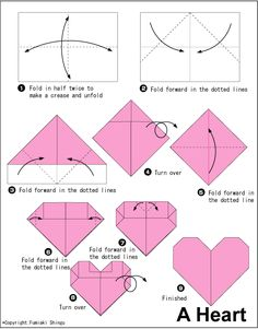 valentine's day origami heart card