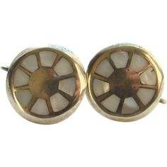 Vintage Sterling Silver Screw Back Earrings Mother of Pearl Inlay