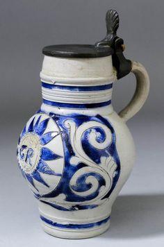An 18th Century German Westerwald stoneware tankard inc