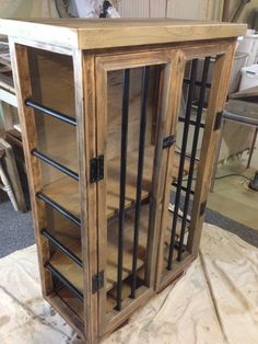 Marvelous Liquor Cabinet, Rustic Iron And Wood With Natural Distressed Finish