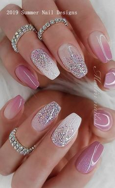 Deluxe Nail Care Kit Fall Sparkly Nails Pink und Silber bis Nail Care Tipps In M. - Deluxe Nail Care Kit Fall Sparkly Nails Pink und Silber bis Nail Care Tipps In Mal . Ombre Nail Designs, Acrylic Nail Designs, Nail Art Designs, Sparkly Nail Designs, Fancy Nails Designs, Summer Acrylic Nails, Best Acrylic Nails, Sparkly Acrylic Nails, Pink Sparkly Nails
