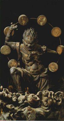 Statue of Raijin in Sanjūsangen-dō, Kyoto, Japan. About 1m tall, dated to mid 13th century Kamakura period. National Treasure of Japan 木造雷神像(国宝) 三十三間堂 京都