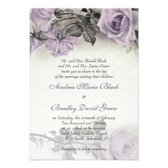 This mauve purple, grey (gray), and ivory vintage rose flower illustration wedding invitation is a great choice for a spring wedding, a summer wedding, or a winter wedding with a mauve purple and gray. Lilac Wedding, Spring Wedding, Trendy Wedding, Wedding Flowers, Rose Flowers, Dream Wedding, Wedding Dresses, Purple Winter Weddings, Rustic Wedding