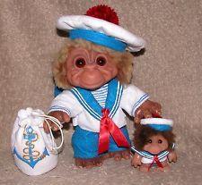 Vintage DAM Monkey Boy Trolls- circ 1965